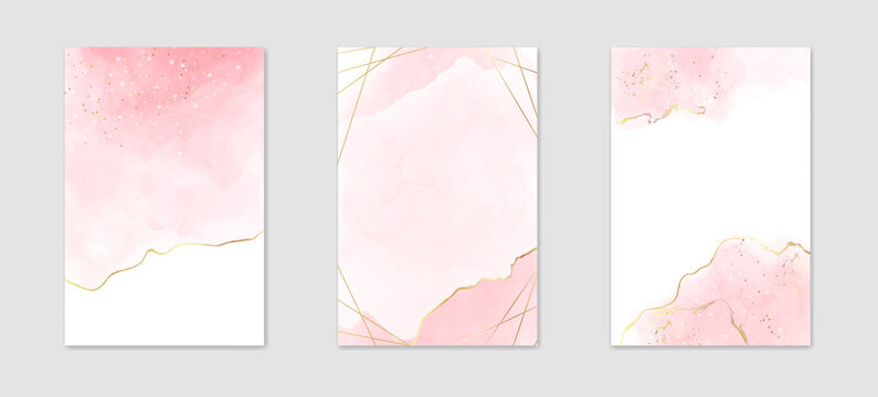 Abstract dusty pink liquid watercolor background with golden lines, dots and polygonal frame. Pastel marble alcohol ink drawing effect. Vector illustration design template for wedding invitation