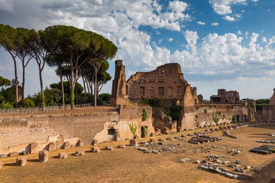 Italy, Rome, Palatine Hill, Hippodrome of Domitian or Stadio Palatino, ancient Roman stadium