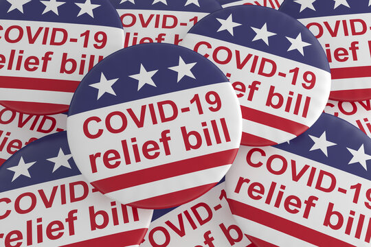 USA Politics Badges: Pile of COVID-19 Relief Bill Buttons With US Flag, 3d illustration