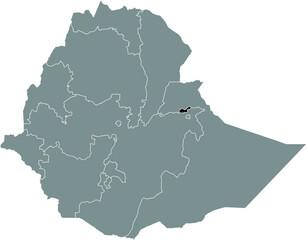 Obraz Black highlighted location map of the Ethiopian Dire Dawa City region inside gray map of the Federal Democratic Republic of Ethiopia - fototapety do salonu