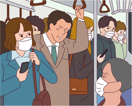 A man coughs in the subway, all of the passengers wearing masks.