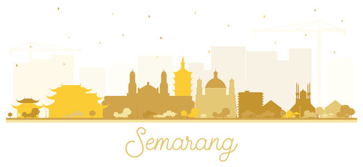 Semarang Indonesia City Skyline Silhouette with Golden Buildings Isolated on White. Wall mural