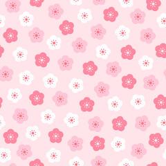 Wall Mural - Sakura flower seamless pattern vector illustration. Cherry blossom flowers on pink background