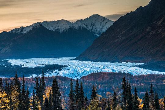 dramatic autumn landscape photo of the Matanuska glacier in Alaska.