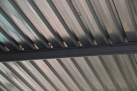 Geometric Pattern of Silver Aluminium Car Port