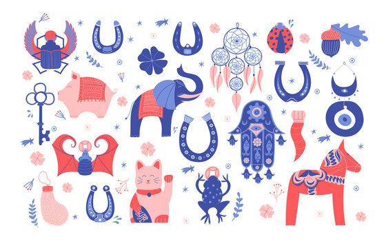 Set of lucky charms, symbols, amulets, talismans. Good fortune symbols clipart. Symbols of good luck, prosperity and success. Horseshoe, clover, Maneki Neko, dala horse, evil eye, dreamcatcher