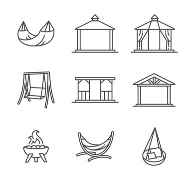 Garden structures, buildings and furniture thin line style icon set vector