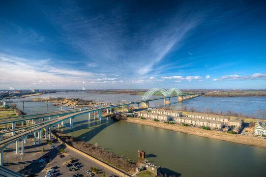 Cityscape of Memphis. Mississippi river and Hernando de Soto Bridge
