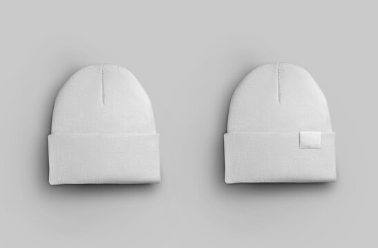 White warm beanie mockup with tag
