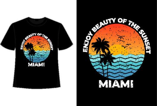 T-shirt sunset retro miami beach