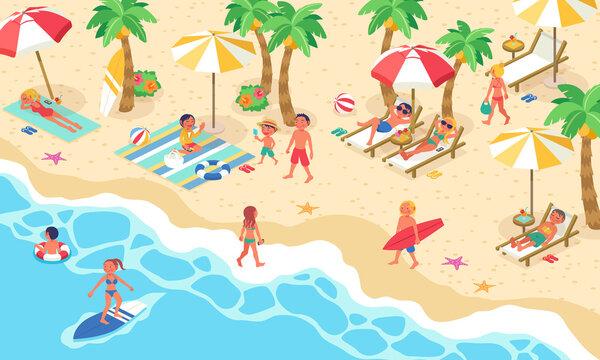 夏の海に海水浴に来た大勢の人々の生活風景のベクターイラスト(アイソメトリック、アイソメ)