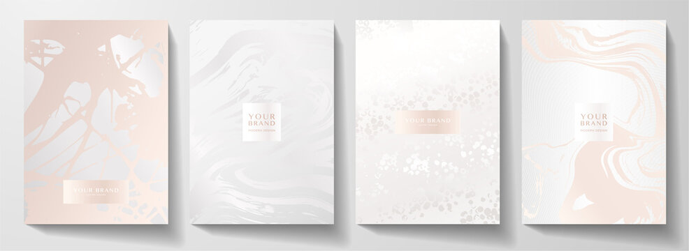 Modern pearl cover design set. Creative fashionable background with light abstract marble pattern. Elegant trendy vector collection for catalog, brochure template, magazine layout, beauty booklet