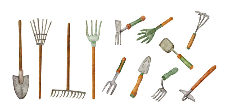 Garden tools for digging and loosening the soil. Hand painted watercolor illustration of shovels, rakes and  hoes on white background.