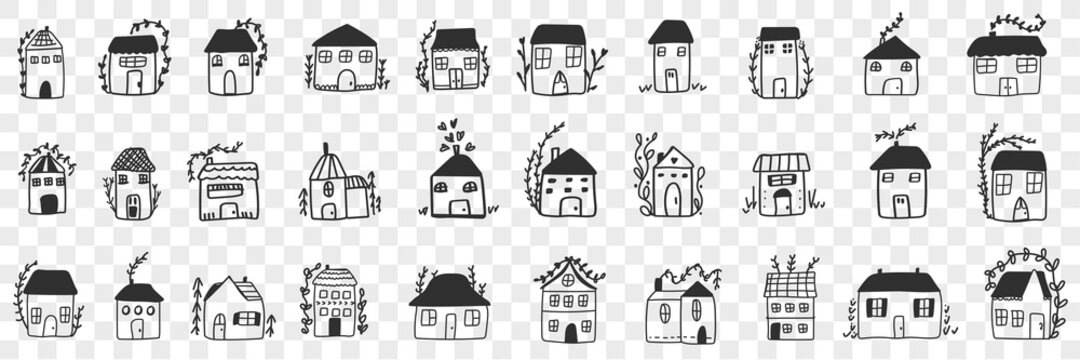 Buildings and houses doodle set. Collection of hand drawn various facades of building houses for family accommodation isolated on transparent background