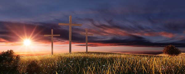 Crucifixion and Resurrection. Three crosses in field by sunset. Easter or Resurrection concept. He...
