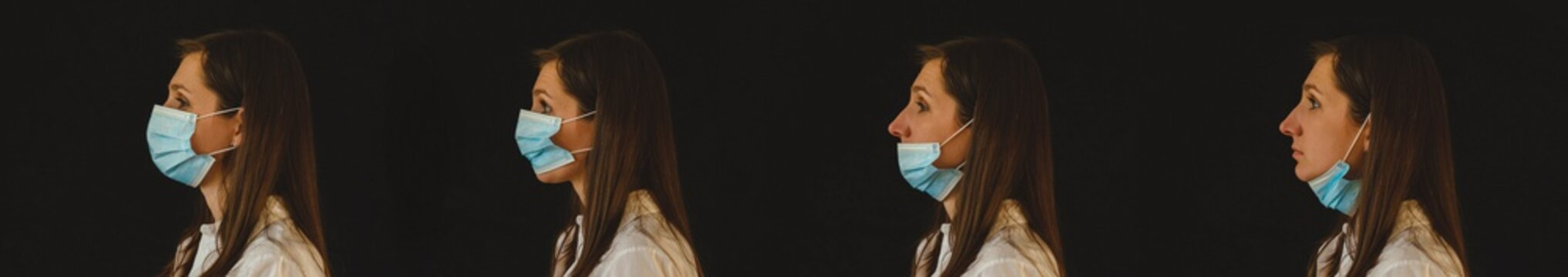The right and wrong way to wear a mask. Coronavirus protective mask wearing face protective mask against corona virus banner panoramic medical professional preventive gear.