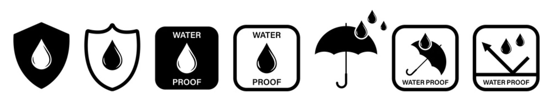 Water Proof icons. Collection of water resistant signs. Vector isolated on white