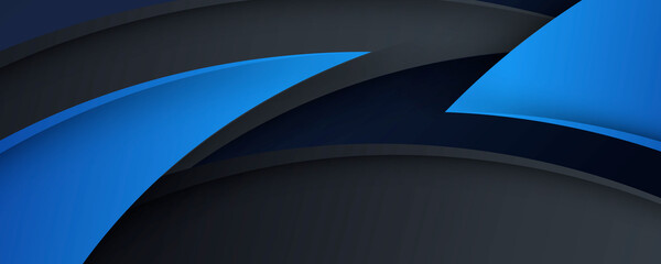 High contrast black and blue grey glossy wave curve technology business stripes. Abstract tech graphic banner design. Vector corporate background for wide banner