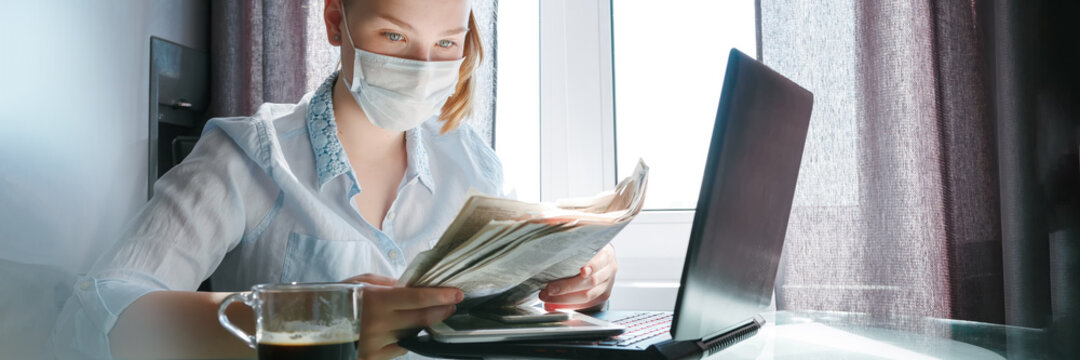 Online work,education training, remote work, office home.Quarantine. Lockfown Remote work, training, education girl is studying, working remotely. new normal,home office,digital learning