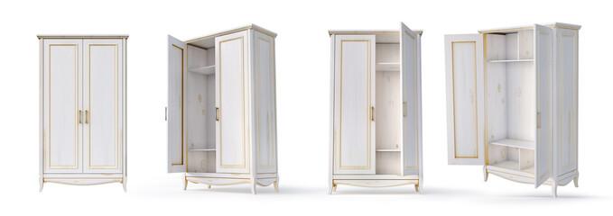 Fototapeta Set of empty white cupboards on a white background. 3d illustration obraz