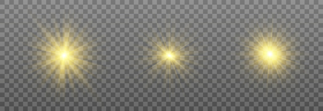 Special design of sunlight or light effect. Star, sun or spotlight beams. Bright flash. Light PNG. Decor element. Vector illustration for decorating. Isolated transparent background.