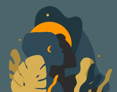 Hand drawn vector abstract stock graphic illustration with young black african american beauty people silhouette portraits ,night tribal african freedom concept isolated on color background