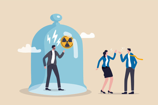 Toxic boss, bad environment in workplace, unfairness, micromanage or mislead manager concept, angry manager captured in cover with prohibit toxic sign and team are peacefully discussing work outside.