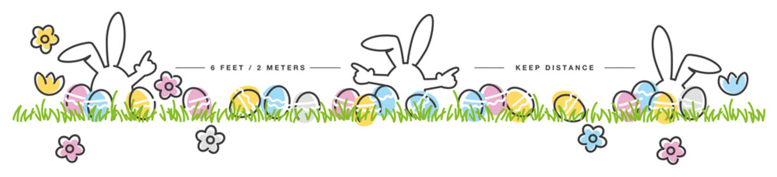Easter social distancing keep distance handwritten white bunnies, eggs, flowers, grass on white background drawing in line design