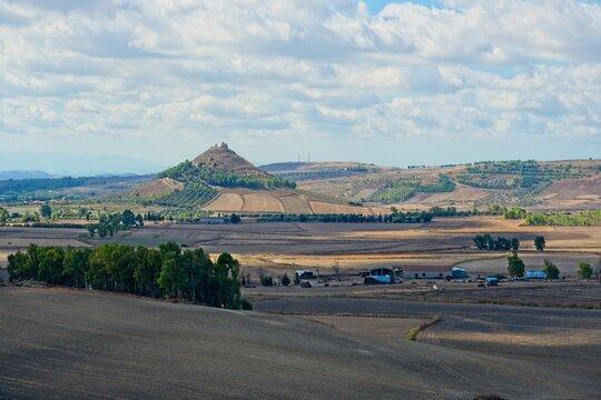 Italy, Barumini - 2019-09-30 : Fields around Las Plassas, an old fort in Central Sardinia