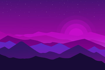 flat landscape Beautiful abstract nature mountains in purple and blue