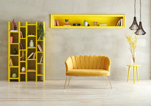 Grey concrete wall background with yellow bookshelf, sofa and niche with lamp.