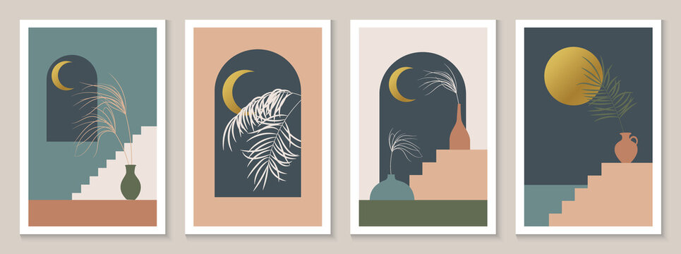 Contemporary aesthetic background with arch, night landscape, sea, mountains, golden moon. Tropical floral design. Bohemian Minimal vector illustration set, poster, wall art, print, cover.