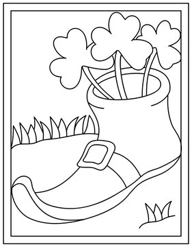 Colouring page of leprechaun boot