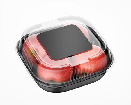 Plastic Container with Black Square Paper Label Mockup