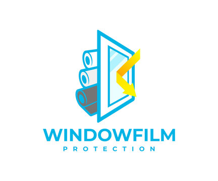 Protection window film from solar and shockproof, logo design. Safety, window, reflected sunbeam or sunlight and rolls with protective film, vector design and illustration