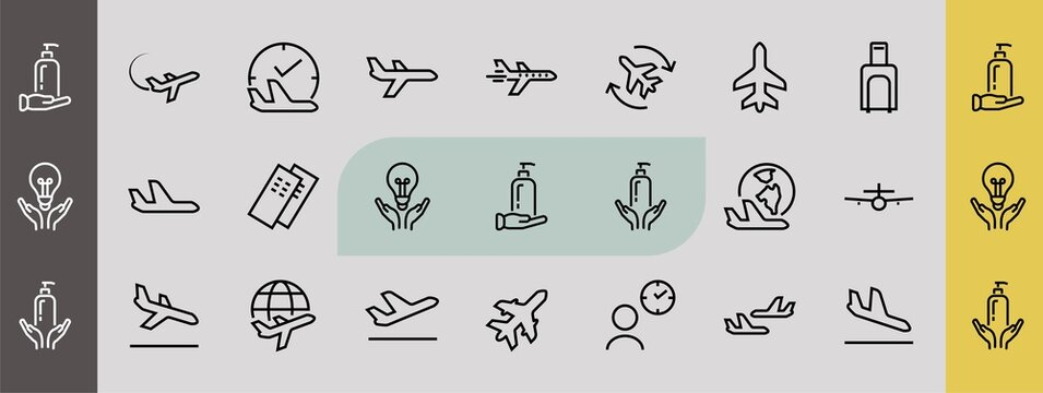 A simple set of airport related vector line icons. Contains badges such as departure, boarding, waiting time, boarding, find a place to travel tickets, and much more. Editable stroke. 48x48 pixels