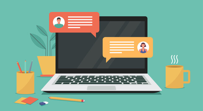 online chatting on laptop computer concept, man and woman connecting together and work from anywhere, vector flat illustration