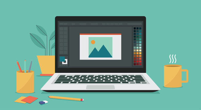 photo or image editing program software on laptop computer screen for designer user, vector flat illustration