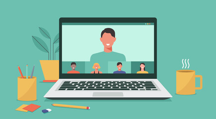 Fototapeta people connecting together, learning and meeting online via teleconference or video conference remote working on laptop computer, work from home and anywhere, vector flat illustration obraz