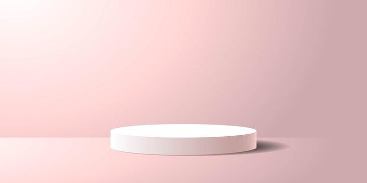 Pink pedestal podium product display background vector illustration soft pastel color and lighting