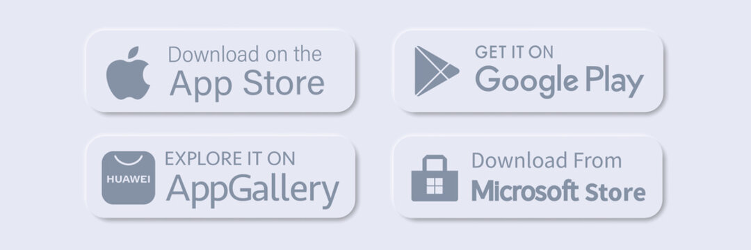 huawei appgallery, google play, apple store, microsoft store buttons download application. isolated vector. editorial Rivne, Ukraine - 3/12/21