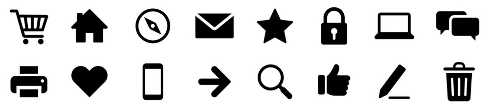 Web icon set isolated on white background. Vector