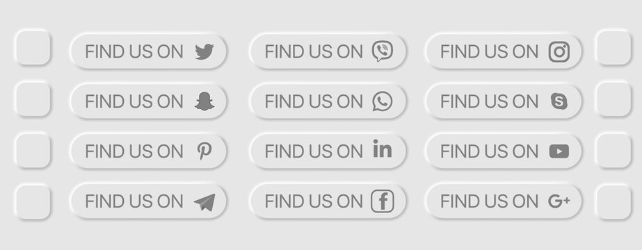 Find Us Fill Icon Concept. UI Neumorphism Light Version Vector Design Elements Set On White Background. UI Components In Simple Neumorphic Style For Apps, Websites, Interfaces, Social Media
