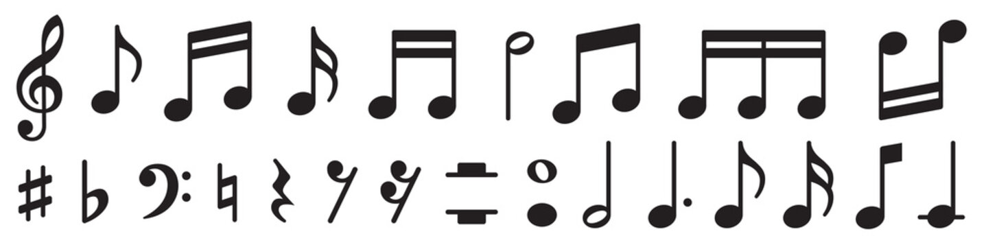 Music notes set. Music simbol. Musicnotes icons. Black treble clef, note, sharp, natural, flat, measure, bar, stave and other. Musical notes icons - stock vector.