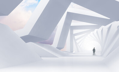 Fototapeta Abstract white tunnel perspective with a man