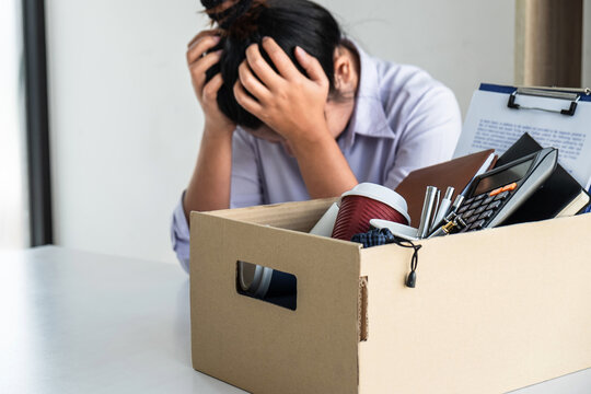 Stress of business woman employee intend to sending resignation letter to boss employer consider in order to contract for quit or layoff of job leaving from work, resignation concept