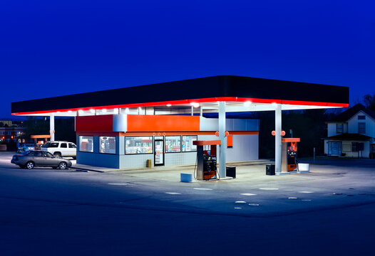 Generic Gasoline Station and Convenience Store at Dusk