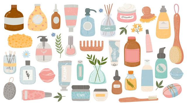 Flat hygiene and beauty products. Cosmetic bottles and tubes, bath accessories, lotion, shampoo, oil and scrub. Organic skin care vector set