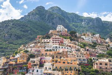 Banner with Positano, Amalfi Coast, Campania, Italy. Beautiful View of Positano along Amalfi Coast in Italy in summer. Morning view cityscape on coast line of mediterranean sea. Wall mural
