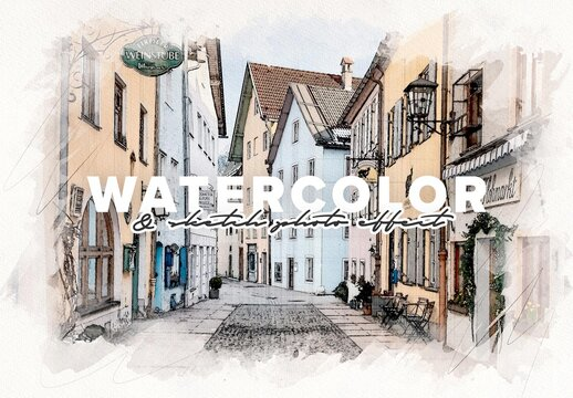 Watercolor and Pencil Sketch Photo Effect Mockup